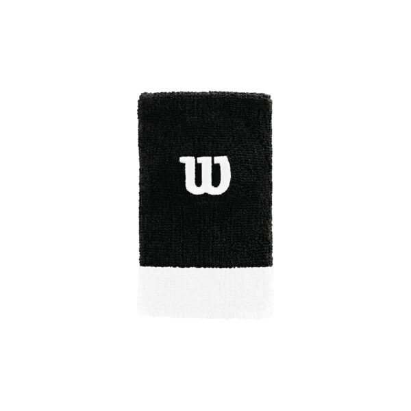 Punhos Wilson Extra Wide Bk Wh 2 Pack